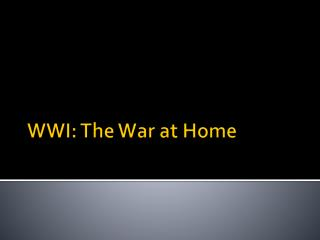 WWI: The War at Home