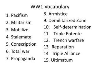 WW1 Vocabulary