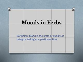 Moods in Verbs