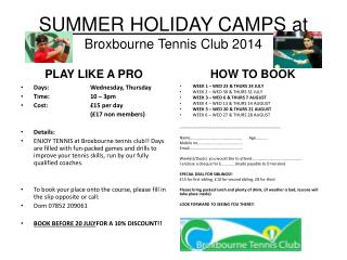 SUMMER HOLIDAY CAMPS  at  Broxbourne Tennis Club 2014