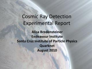 Cosmic Ray Detection Experimental Report