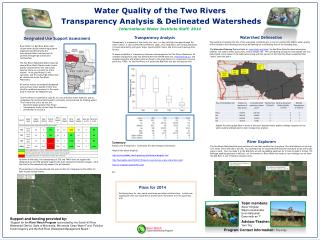 Water Quality of the Two Rivers  Transparency Analysis & Delineated Watersheds