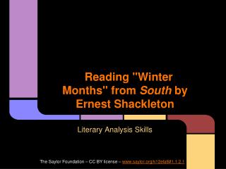 "Reading ""Winter Months"" from  South  by Ernest Shackleton"