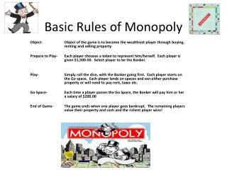 Basic Rules of Monopoly