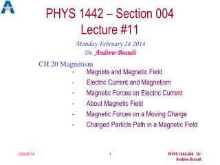 PHYS 1442 – Section 004  Lecture #11