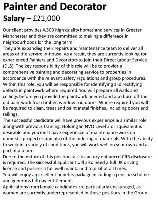 Painter and  Decorator Salary  –  £21,000