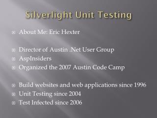 Silverlight  Unit Testing
