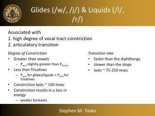 Glides (/w/, /j/) & Liquids (/l/, /r/)