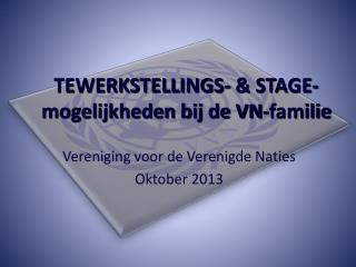 TEWERKSTELLINGS- & STAGE- mogelijkheden bij de VN-familie