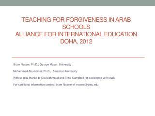 Teaching for Forgiveness In Arab Schools Alliance for International Education Doha, 2012