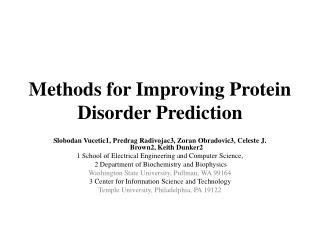 Methods for Improving Protein Disorder Prediction