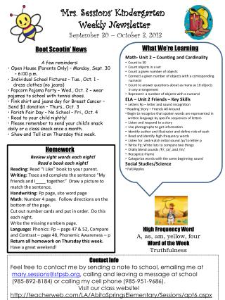 Mrs. Sessions' Kindergarten  Weekly Newsletter  September 30 – October 3, 2013