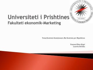 Universiteti i Prishtines Fakulteti ekonomik -Marketing