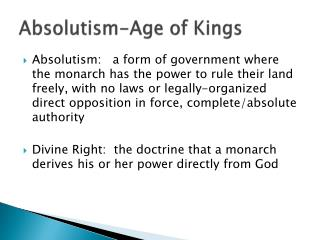 Absolutism-Age of Kings