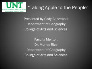 """""""Taking Apple to the People"""""""