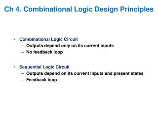 Ch 4. Combinational Logic Design Principles