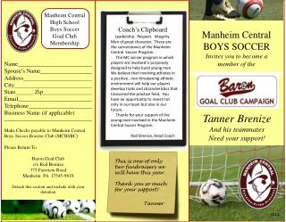 Manheim Central  BOYS SOCCER Invites you to become a member of the