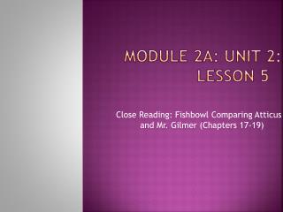 Module 2A: Unit 2: Lesson 5