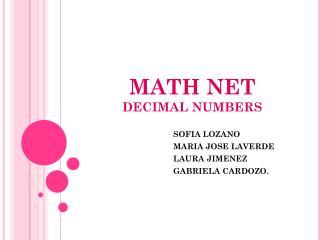 MATH NET DECIMAL NUMBERS