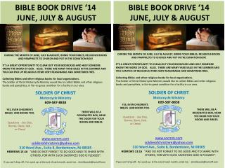 Bible Book  Drive '14    JUNE, JULY & AUGUST