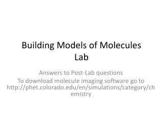 Building Models of Molecules Lab