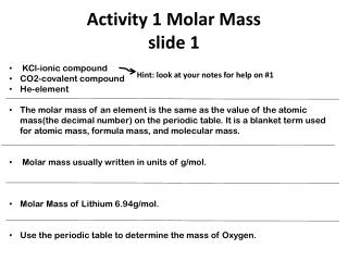 Activity 1 Molar Mass  slide 1