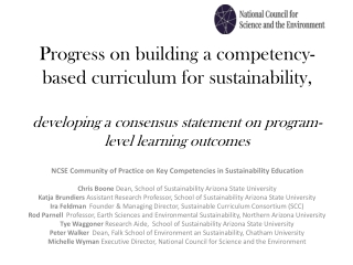 Building A Sustainable Future:  Literacy, Vision, and Engagement
