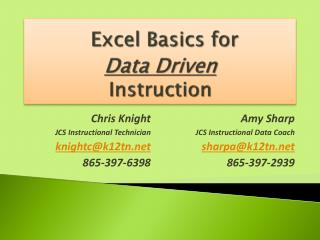 Excel  Basics for  Data  Driven  Instruction