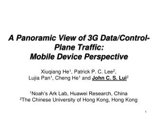 A Panoramic View of 3G Data/Control-Plane Traffic:  Mobile Device Perspective