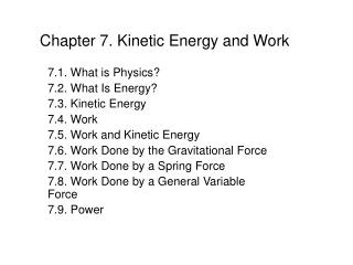 Chapter 7. Kinetic Energy and Work