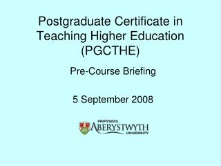 Postgraduate Certificate in Teaching Higher Education