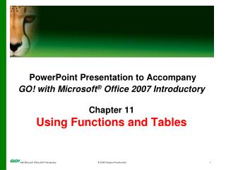 PowerPoint Presentation to Accompany GO! with Microsoft ®  Office 2007 Introductory Chapter 11