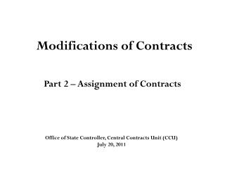 Modifications of Contracts
