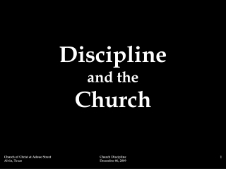 Church Discipline and the   Disorderly