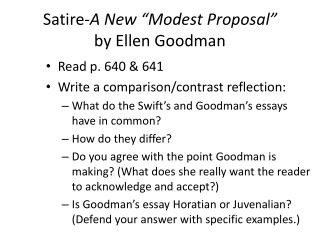 "Satire- A New ""Modest Proposal"" by Ellen Goodman"