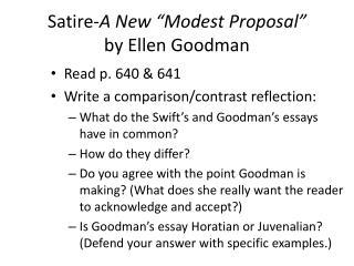 modest proposal satire essay
