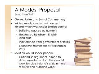 A Modest Proposal Jonathan Swift