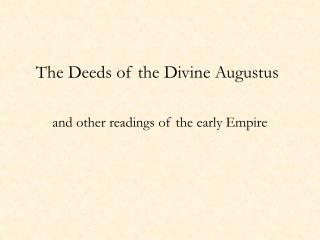 The Deeds of the Divine Augustus