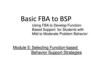 Basic FBA to BSP