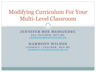 Modifying Curriculum For Your Multi-Level Classroom