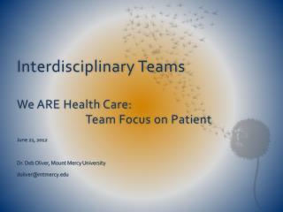 Interdisciplinary Teams We ARE Health Care:                           Team Focus on Patient