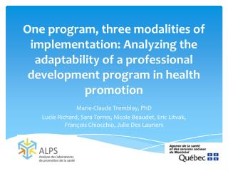 Marie-Claude Tremblay,  PhD