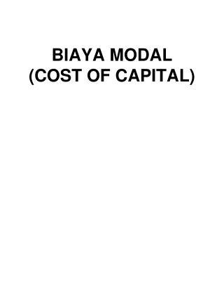 BIAYA MODAL (COST OF CAPITAL)