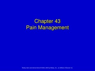 Pharmacological pain relief