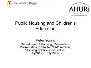 Public Housing and Children
