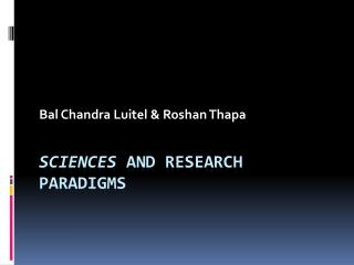 Sciences  and research paradigms