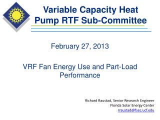 Variable Capacity Heat Pump RTF Sub-Committee