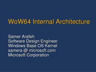 WoW64 Internal Architecture
