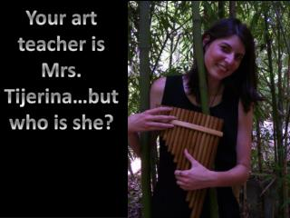 Your art teacher is Mrs.  Tijerina …but who is she ?