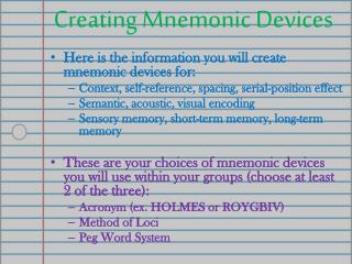 Creating  Mnemonic Devices